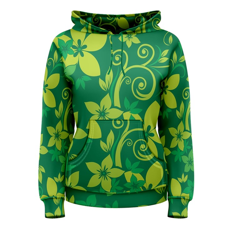 Flower Yellow Green Women s Pullover Hoodie