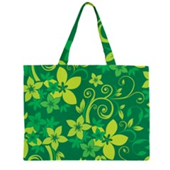 Flower Yellow Green Large Tote Bag