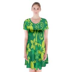 Flower Yellow Green Short Sleeve V-neck Flare Dress