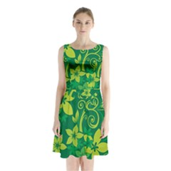 Flower Yellow Green Sleeveless Chiffon Waist Tie Dress