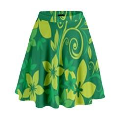 Flower Yellow Green High Waist Skirt