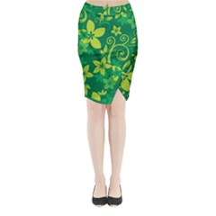 Flower Yellow Green Midi Wrap Pencil Skirt