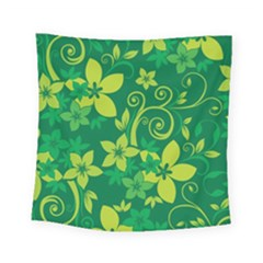 Flower Yellow Green Square Tapestry (small)