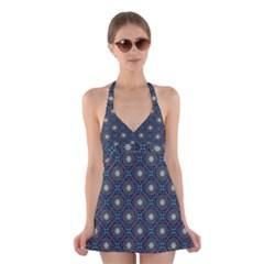 Flower Star Gray Halter Swimsuit Dress