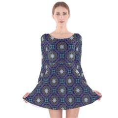 Flower Star Gray Long Sleeve Velvet Skater Dress