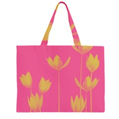 Flower Yellow Pink Large Tote Bag