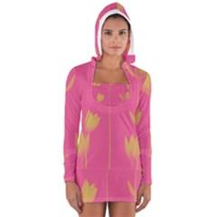 Flower Yellow Pink Women s Long Sleeve Hooded T-shirt