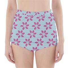 Flowers Fushias On Blue Sky High-Waisted Bikini Bottoms