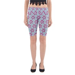 Flowers Fushias On Blue Sky Yoga Cropped Leggings