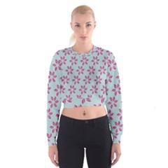 Flowers Fushias On Blue Sky Women s Cropped Sweatshirt