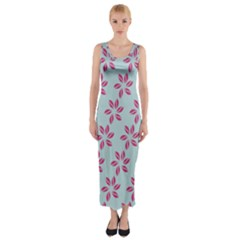 Flowers Fushias On Blue Sky Fitted Maxi Dress