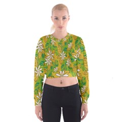 Flower Yellow Women s Cropped Sweatshirt
