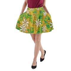 Flower Yellow A-Line Pocket Skirt