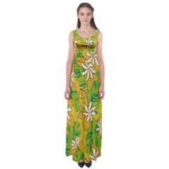 Flower Yellow Empire Waist Maxi Dress