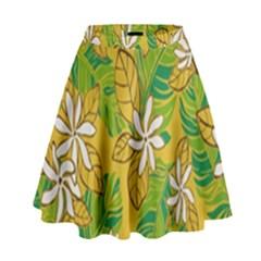 Flower Yellow High Waist Skirt