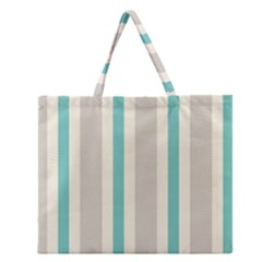 Gray Blue Zipper Large Tote Bag