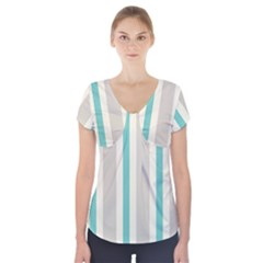 Gray Blue Short Sleeve Front Detail Top