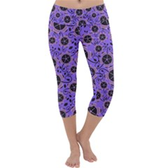 Flower Floral Purple Capri Yoga Leggings