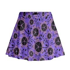 Flower Floral Purple Mini Flare Skirt
