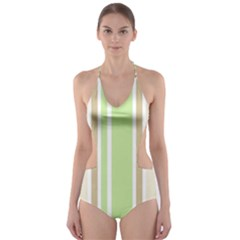 Gray Green Cut-Out One Piece Swimsuit