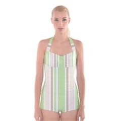 Gray Green Boyleg Halter Swimsuit