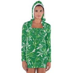 Leaf Flower Butterfly Green Women s Long Sleeve Hooded T-shirt