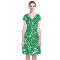 Leaf Flower Butterfly Green Short Sleeve Front Wrap Dress