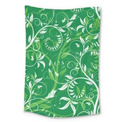 Leaf Flower Butterfly Green Large Tapestry