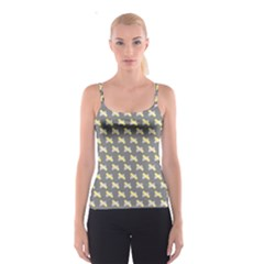 Hearts And Yellow Crossed Washi Tileable Gray Spaghetti Strap Top