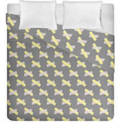 Hearts And Yellow Crossed Washi Tileable Gray Duvet Cover Double Side (king Size)