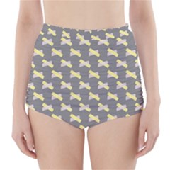 Hearts And Yellow Crossed Washi Tileable Gray High-Waisted Bikini Bottoms