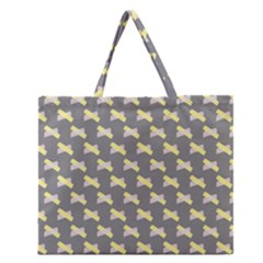 Hearts And Yellow Crossed Washi Tileable Gray Zipper Large Tote Bag