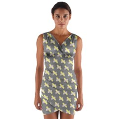 Hearts And Yellow Crossed Washi Tileable Gray Wrap Front Bodycon Dress