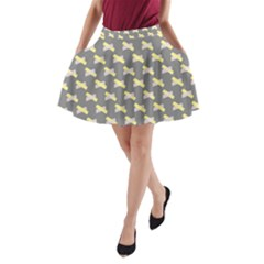 Hearts And Yellow Crossed Washi Tileable Gray A-Line Pocket Skirt