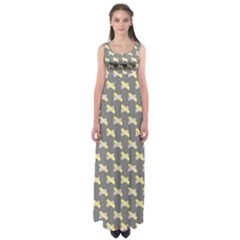 Hearts And Yellow Crossed Washi Tileable Gray Empire Waist Maxi Dress