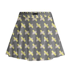 Hearts And Yellow Crossed Washi Tileable Gray Mini Flare Skirt