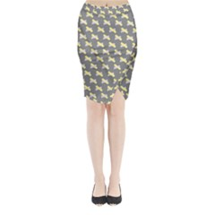 Hearts And Yellow Crossed Washi Tileable Gray Midi Wrap Pencil Skirt