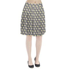 Hearts And Yellow Crossed Washi Tileable Gray Pleated Skirt
