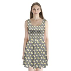 Hearts And Yellow Crossed Washi Tileable Gray Split Back Mini Dress