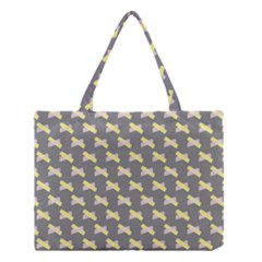 Hearts And Yellow Crossed Washi Tileable Gray Medium Tote Bag