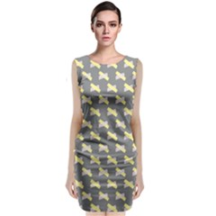 Hearts And Yellow Crossed Washi Tileable Gray Sleeveless Velvet Midi Dress