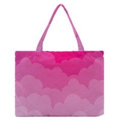 Lines Pink Cloud Medium Zipper Tote Bag