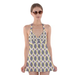 Hearts And Yellow Washi Zigzags Tileable Halter Swimsuit Dress