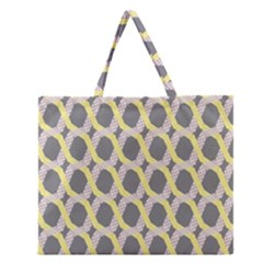 Hearts And Yellow Washi Zigzags Tileable Zipper Large Tote Bag