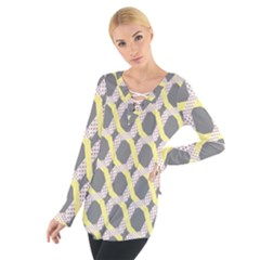 Hearts And Yellow Washi Zigzags Tileable Women s Tie Up Tee