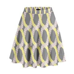Hearts And Yellow Washi Zigzags Tileable High Waist Skirt