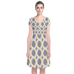 Hearts And Yellow Washi Zigzags Tileable Short Sleeve Front Wrap Dress