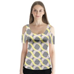 Hearts And Yellow Washi Zigzags Tileable Butterfly Sleeve Cutout Tee