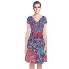 Madura Batik Short Sleeve Front Wrap Dress