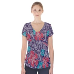 Madura Batik Short Sleeve Front Detail Top